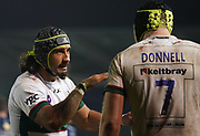 London Irish's Blair Cowan gives instructions to London Irish flanker Ben Donnell during a Gallagher Premiership Rugby Union match won by Sharks 39-0, Friday, Mar. 6, 2020, in Eccles, United Kingdom. (Steve Flynn/Image of Sport)