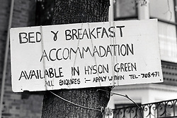 Bed & breakfast accommodation sign Hyson Green, Nottingham UK 1989