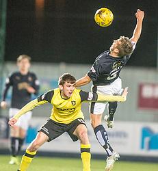 Livingston Kieran Gibbons and Falkirk's Will Vaulks. Falkirk 2 v 0 Livingston, Scottish Championship game played 29/12/2015 at The Falkirk Stadium.