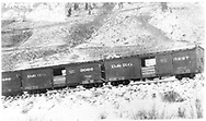 """D&RG box cars #3066 & 3277 in RGS freight train.<br /> D&RGW    10/30/1909<br /> In book """"Narrow Gauge Pictorial, Vol. III: Gondolas, Boxcars and Flatcars of the D&RGW"""" page 111"""