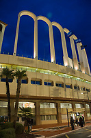 Football - 2016 / 2017 UEFA Champions League - Group E: Tottenham Hotspur vs. AS Monaco<br /> <br /> view of the outside of the stadium, with Uefa flags flying,as dusk falls  at the Stade Louis II in Monaco<br /> <br /> colorsport/winston bynorth