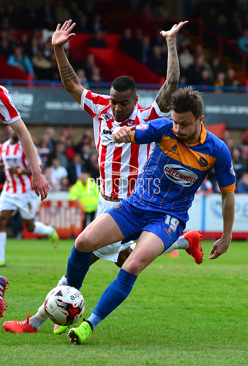 Andy Mangan holds off Durrell Berry during the Sky Bet League 2 match between Cheltenham Town and Shrewsbury Town at Whaddon Road, Cheltenham, England on 25 April 2015. Photo by Alan Franklin.