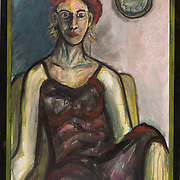 """Title: Bored by My Presence<br /> Artist: Jason Singleton<br /> Date: 1998<br /> Medium: Oil on canvas<br /> Dimensions: 27 x 39""""<br /> Instructor: Sydney Yeager<br /> Status: Available<br /> Location: HLC Storage"""