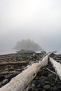Fog almost hides the island at Whytecliff Park in West Vancouver, British Columbia, Canada.