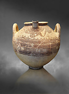 Mycenaean spouted clay pithos decorated with spirals and bands, Grave VI, Grave Circle A, Mycenae 16-15 Cent BC. National Archaeological Museum Athens. Cat No 8580.  Grey art Background .<br /> <br /> If you prefer to buy from our ALAMY PHOTO LIBRARY  Collection visit : https://www.alamy.com/portfolio/paul-williams-funkystock/mycenaean-art-artefacts.html . Type -   Athens    - into the LOWER SEARCH WITHIN GALLERY box. Refine search by adding background colour, place, museum etc<br /> <br /> Visit our MYCENAEN ART PHOTO COLLECTIONS for more photos to download  as wall art prints https://funkystock.photoshelter.com/gallery-collection/Pictures-Images-of-Ancient-Mycenaean-Art-Artefacts-Archaeology-Sites/C0000xRC5WLQcbhQ