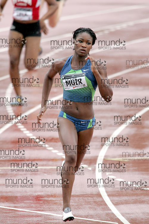 (Sherbrooke, Canada---22 July 2006) Carline Muir competing in the women's 400m final at the 2006 Canadian Junior Track and Field Championships and national multi-events championships 21-23 July 2006 held in Sherbrooke Quebec. Copyright 2006 Sean Burges / Mundo Sport Images, www.mundosportimages.com