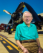 Corsair pilot Julian Scott graduated from Naval flight school in the waning days of WWII, and remained in the reserves, flying out of the Naval Air Station in Atlanta. Today it is known as Dekalb Peachtree Airport, where this image was created.  <br /> <br /> Created by aviation photographer John Slemp of Aerographs Aviation Photography. Clients include Goodyear Aviation Tires, Phillips 66 Aviation Fuels, Smithsonian Air & Space magazine, and The Lindbergh Foundation.  Specialising in high end commercial aviation photography and the supply of aviation stock photography for advertising, corporate, and editorial use.