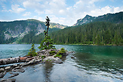 Mowich Lake, Mount Rainier, Washington.   <br /> Wind and water. That is the literal translation of the Chinese science of Feng shui, which seeks to bind humanity with it's surroundings.  The idea incorporates positive and negative polarity (yin and yang) as well as the five elements (wood, water, fire, metal and earth).  The practice channels the energy, the life force of a place, known as Qi (pronounced chee), to place architecture in the most auspicious direction and orientation.  In a sense it is an alignment between what you build and how you live with the universe, positioning your structure with water, land forms, even compass points and constellations. My more immediate universe changes daily though, and tonight I am here in a glacial bowl on the northwest flank of Rainier.  Rainier is huge, easily seen 70 miles away in Seattle.  It is so massive that weather gets backed up in its directional flow, accounting for many of the moods of the mountain, from serene and welcoming to angry and deadly.   I am not the architect whose hand made the little bump of land before me;  this is Rainier's feng shui.  Maybe it's a push of magma, or one piece of puzzle from continental uplift millennia ago, but it was the hand of the mountain itself that placed this little island, and you can still feel the Qi.  It is one of countless perfect designs of this place, if your eyes are open to them.  This one is aligned eastward, spring-like and appropriate to Rainier's green season, and pointing to the constellation of Scorpius, coincidentally my astrological sign.   There are times I have to escape every day life, with all it's yin and yang, letting my thoughts either breathe or rest.  If I wasn't looking for harmony, I have found it anyways, and tonight, I will sit and contemplate the wind and water.