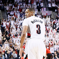 25 April 2016: Portland Trail Blazers guard C.J. McCollum (3) celebrates during the Portland Trail Blazers 98-84 victory over the Los Angeles Clippers, during Game Four of the Western Conference Quarterfinals of the NBA Playoffs at the Moda Center, Portland, Oregon, USA.