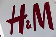 Sign for clothes shop H&M.