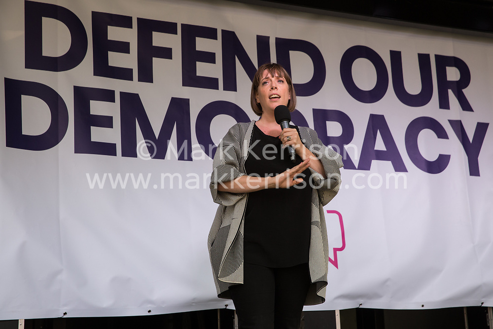 London, UK. 4 September, 2019. Jess Phillips, Labour MP for Birmingham Yardley, addresses Remain supporters at a Defend Our Democracy rally in Parliament Square shortly after MPs passed the Brexit delay bill in the House of Commons.