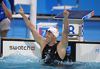 Stephen Parry (GBR) celebrates winning his 200m Butterfly Semi-Final.  Swimming, Athens Olympics, 16/08/2004. Credit: Colorsport / Andrew Cowie DIGITAL FILE ONLY