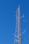 Mobile radio and yagi antennas on  lattice tower in Port Macquaire, New South Wales <br />