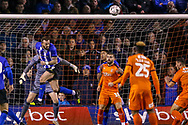 Sheffield Wednesday forward Steven Fletcher (9) heads clear during the The FA Cup 3rd round replay match between Luton Town and Sheffield Wednesday at Kenilworth Road, Luton, England on 15 January 2019.