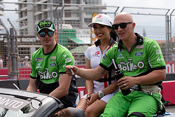 October 21, 2018 - Gold Coast, QLD, U.S. - GOLD COAST, QLD - OCTOBER 21: Mark Winterbottom and Dean Canto in the The Bottle-O Racing Team Ford Falcon during the parade lap at The 2018 Vodafone Supercar Gold Coast 600 in Queensland, Australia. (Photo by Speed Media/Icon Sportswire) (Credit Image: © Speed Media/Icon SMI via ZUMA Press)