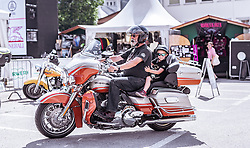 27.06.2019, Schladming, AUT, Rock the Roof 2019, im Bild Biker mit Kind // Biker with child during the Rock the Roof Biker Meeting in Schladming, Austria on 2019/06/27. EXPA Pictures © 2019, PhotoCredit: EXPA/ JFK