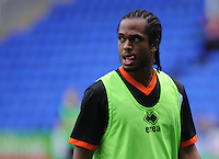 Blackpool's Nathan Delfouneso during the pre-match warm-up <br /> <br /> Photographer Kevin Barnes/CameraSport<br /> <br /> Football - The Football League Sky Bet Championship - Reading v Blackpool - Saturday 25th October 2014 - Madejski Stadium - Reading <br /> <br /> © CameraSport - 43 Linden Ave. Countesthorpe. Leicester. England. LE8 5PG - Tel: +44 (0) 116 277 4147 - admin@camerasport.com - www.camerasport.com