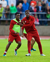 ROTTACH-EGERN, GERMANY - Friday, July 28, 2017: Liverpool's Oviemuno Ovie Ejaria and Divock Origi during a training session at FC Rottach-Egern on day three of the preseason training camp in Germany. (Pic by David Rawcliffe/Propaganda)