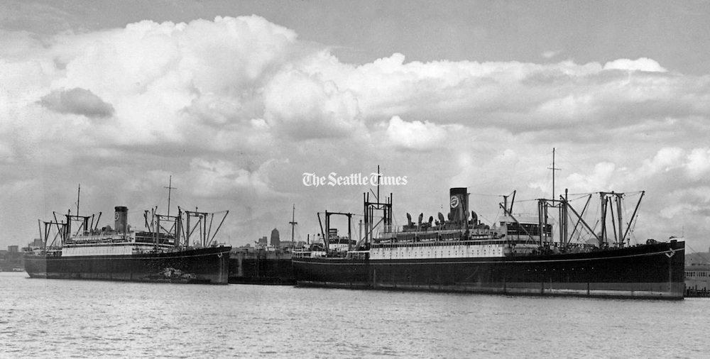 Work of converting the former American Mail liners President Grant and President Jackson into Navy transports will start at the plant of Todd Seattle Dry Docks, Inc.  The Grant will be known as the U.S.S. Harris and the Jackson as the U.S.S. Zeilin. (Seattle Times archives, 1940).