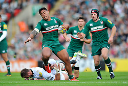 Leicester Tigers centre Manu Tuilagi takes on the Newcastle defence - Photo mandatory by-line: Patrick Khachfe/JMP - Tel: Mobile: 07966 386802 - 21/09/2013 - SPORT - RUGBY UNION - Welford Road Stadium - Leicester Tigers v Newcastle Falcons - Aviva Premiership.