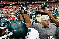 18 Jan 2009: Philadelphia Eagles defense in a huddle before the NFC Championship game against the Arizona Cardinals on January 18th, 2009. The Cardinals won 32-25 at University of Phoenix Stadium in Glendale, Arizona. (Photo by Brian Garfinkel)