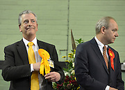 © Licensed to London News Pictures. 01/03/2013. Eastleigh, UK Liberal Democrat, Mike Thornton MP (L) wins the Eastleigh by-election pictured here with Labour's John O'Farrell. The voters of Eastleigh vote to choose a new MP in a by-election prompted by the resignation of former Lib Dem cabinet minister Chris Huhne. Polling will continued 22:00 GMT 28/02/13, with votes counted overnight on Thursday. There are 14 candidates in total on the ballot papers.. Photo credit : Stephen Simpson/LNP
