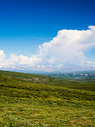 View of the Amphitheater Mountains east of Paxson, Alaska, along the Denali Highway.