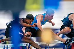 Isaya Klein Ikkink, Mark Heiden in action on the 60 meters hurdles during limit matches to be held simultaneously with the Dutch Athletics Championships on 14 February 2021 in Apeldoorn