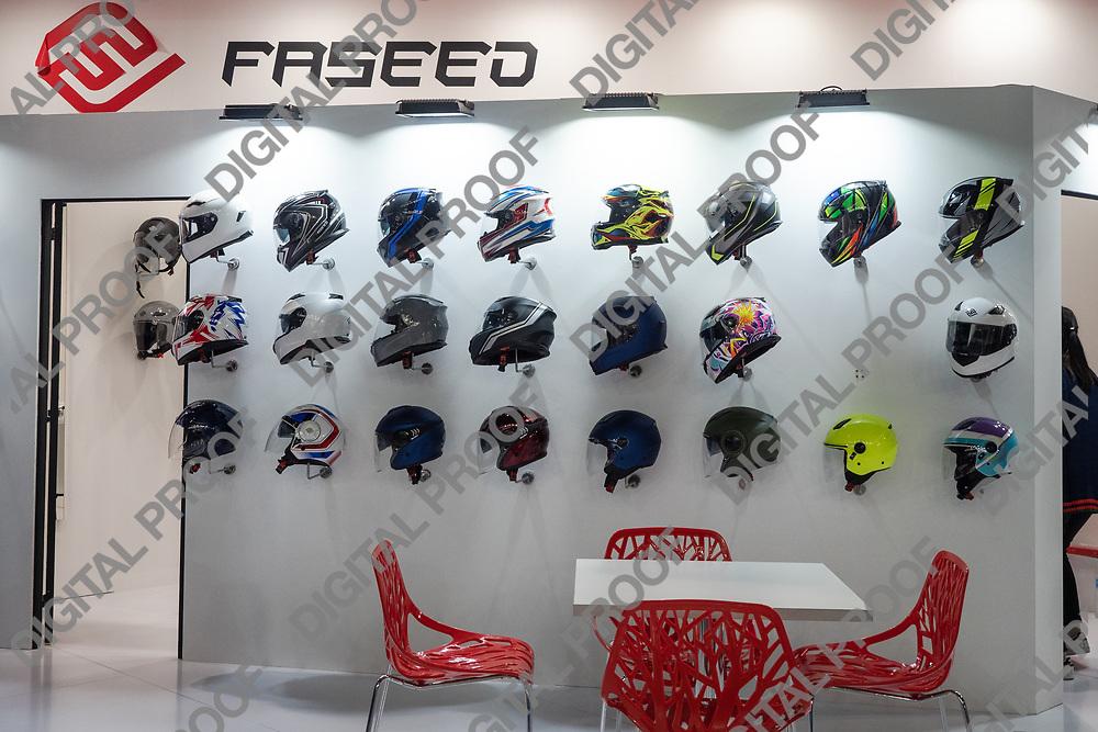 RHO Fieramilano, Milan Italy - November 07, 2019 EICMA Expo. Motorcycle helmet display wall