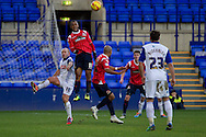 Walsall's Ashley Hemmings © out jumps Tranmere Rovers Andy Robinson for a header. Skybet football league 1 match, Tranmere Rovers v Walsall at Prenton Park in Birkenhead, England on Saturday 11th Jan 2014.<br /> pic by Chris Stading, Andrew Orchard sports photography.