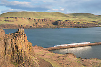 Amtrak train along River from Columbia Hills State Park Washington