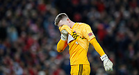 Football - 2019 / 2020 Premier League - Liverpool vs. Sheffield United<br /> <br /> Dean Henderson of Sheffield United reacts  at Anfield.<br /> <br /> COLORSPORT/LYNNE CAMERON