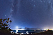 the Milky Way rises above Anaeho'omalu Bay at dusk, Waikoloa Resort Area, South Kohala, Hawaii Island ( the Big Island ), Hawaii, U.S.A. ( Central Pacific Ocean ); also visible  are the the setting crescent moon and the planets Jupiter and Saturn on the left and Venus upper center right, as well as a number of meteorites, or shooting stars; digital composite of 18 pictures to create a 180 degree panorama