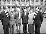 Progressive Democrat TD's At Leinster House.(R51)..1987..27.02.1987..02.27.1987..27th February 1987..After the General Election the P.D. deputies assembled at Dáil Éireann,Leinster House, Dublin...Pictured in front of Dáil Éireann were P.D. Deputies;.John McCoy, Limerick; Martin Cullen, Waterford; Pearse Wyse, Cork; Des O'Malley,Party Leader,Limerick; Mairin Quill,Cork and peader Clohessey, Limerick.