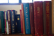 Assorted missal, lectionary, rite, blessing and Bible in the Sacristy (Vestry) at St. Lawrence's Catholic church in Feltham.