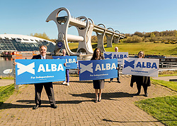 Alex Salmond Launches Alba Party Candidates, 21 April 2021<br /> <br /> The new ALBA Party launched its Central Scotland candidates at an event at the Falkirk Wheel today.<br /> <br /> Pictured: Alex Salmond, Alba Party Leader and former First Minister of Scotland with Central Scotland Candidates Tasmina Ahmed-Sheik, Margaret Lynch, Dr. Jim Walker and Lynne Anderson<br /> <br /> Alex Todd | Edinburgh Elite Media