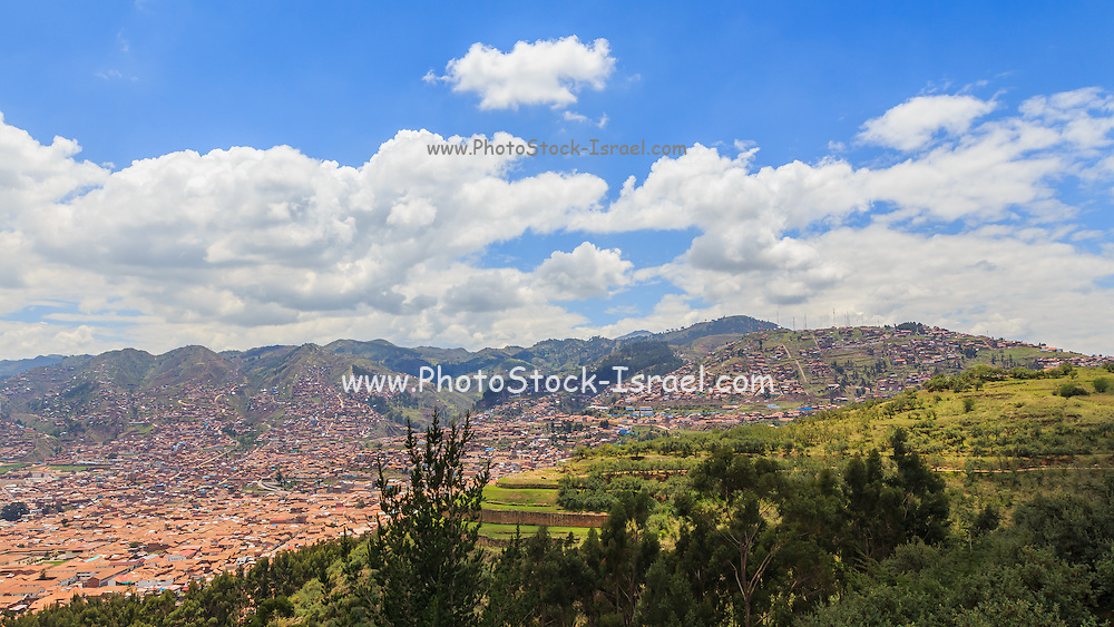 Cityscape of Cusco, Peru from the mountains around the city