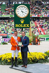 Jeroen Dubbeldam and Zenith SFN World Champion Jumping and Mr Philippe Schaeffer CEO Rolex France - Show Jumping Final Four - Alltech FEI World Equestrian Games™ 2014 - Normandy, France.<br /> © Hippo Foto Team - Leanjo de Koster<br /> 07-09-14