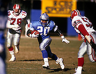 ATLANTA, GA-1989:  NFL Hall of Fame running back Barry Sanders of the Detroit Lions runs with the ball against the Atlanta Falcons at Fulton County Stadium in Atlanta, Georgia in 1989.  Sanders played for the Lions from 1989-1998.  (Photo by Ron Vesely)