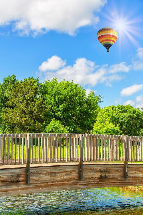 A Hot Air Balloon Beyond The Opus Footbridge in Minnetonka, Minnesota