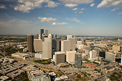Southern aerial view of downtown Houston, Texas skyline and surrounding area.