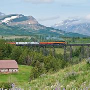 steam train two medicine bridge, east glacier national park, amtrak train glacier park