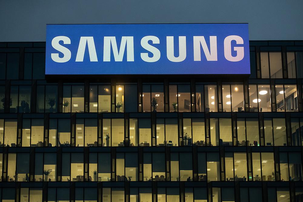 MILAN - NOV 8 -  Samsung Headquarters office building at night with  illuminated windows in Milan, Italy on November 8, 2018.
