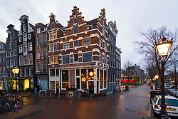 Old buildings and pub in Amsterdam, Netherlands