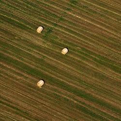 Aerial view of Bales of hay