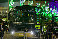 Rennes Team bus arrives at Celtic Park ahead of the Europa League match between Celtic and Rennes at Celtic Park, Glasgow, Scotland on 28 November 2019.