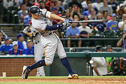 May 22, 2018 - Arlington, TX, U.S. - ARLINGTON, TX - MAY 22: New York Yankees right fielder Aaron Judge (99) hits a grounder to second base during the game between the Texas Rangers and the New York Yankees on May 22, 2018 at Globe Life Park in Arlington, Texas. The Rangers defeat the Yankees 6-4. (Photo by Matthew Pearce/Icon Sportswire) (Credit Image: © Matthew Pearce/Icon SMI via ZUMA Press)