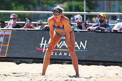June 9, 2018 - New York, NY, U.S. - NEW YORK, NY - JUNE 09:  Kelly Reeves during play on the Stadium Court of the AVP New York Coty Open on June 9, 2018, at Hudson River Park's Pier 25/26, New York, NY.  (Photo by Rich Graessle/Icon Sportswire) (Credit Image: © Rich Graessle/Icon SMI via ZUMA Press)