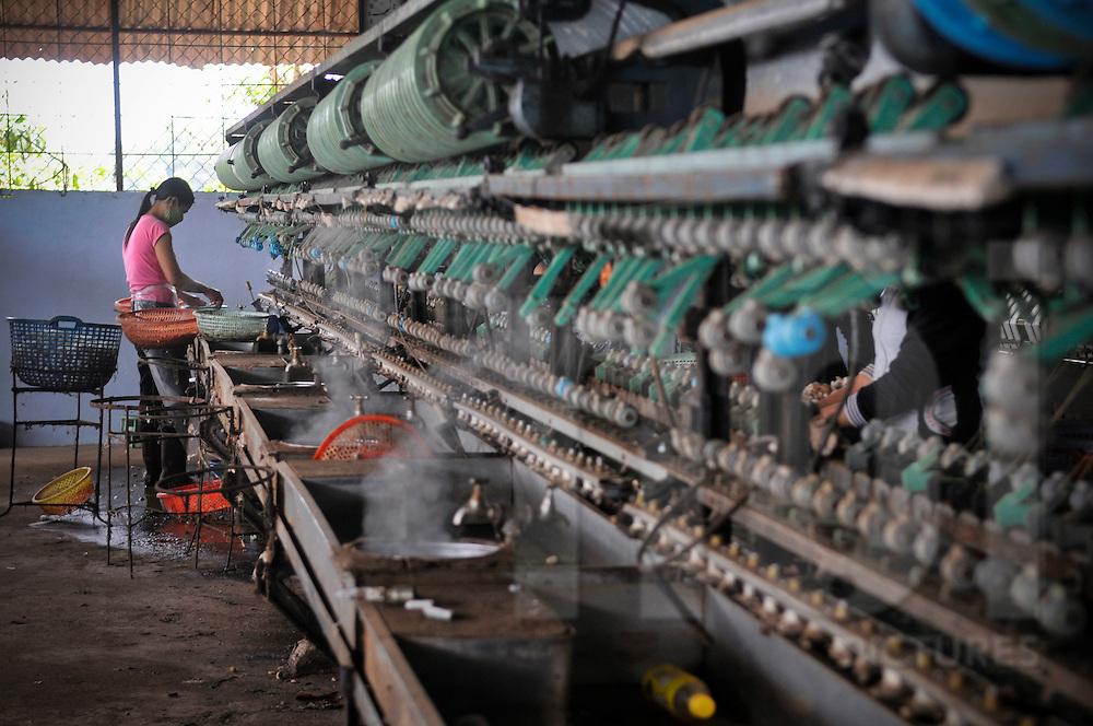 Silk weaving factory in the area of Buon Ma Thuot, Vietnam, Southeast Asia