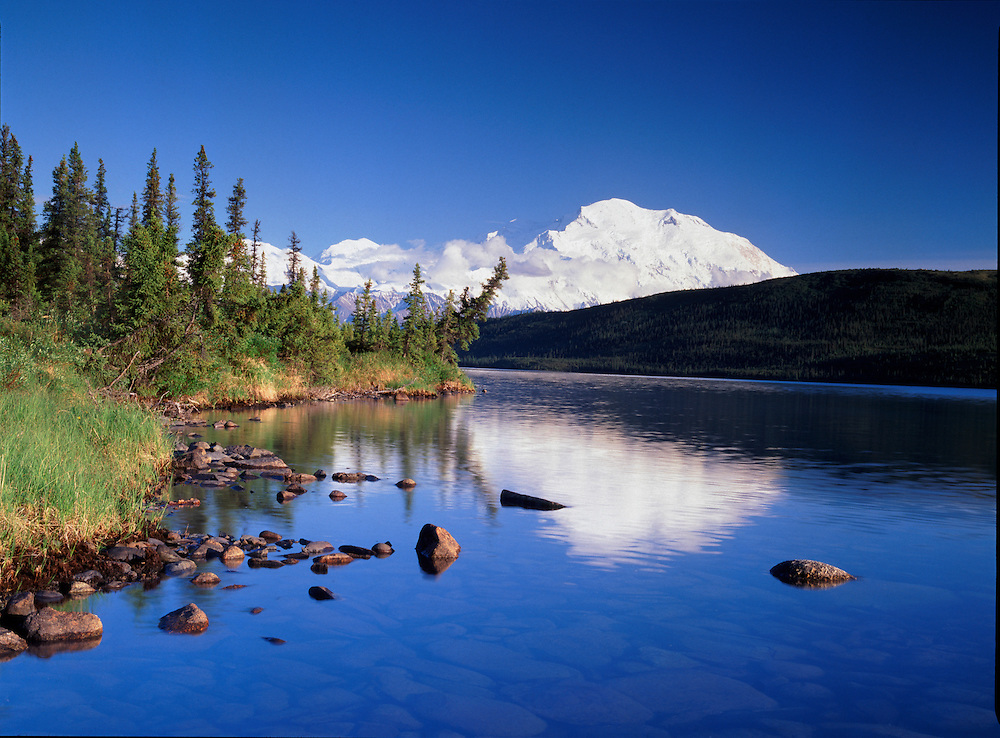 Alaska. Denali NP. Mt McKinley(20,320) the tallest mountain in North America, Wonder Lake